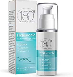 Hyaluronic Acid Anti Aging Serum w. Peptide Booster + Vitamin C - Ultra Strength for Ages 50+ - Restore and Prevent Wrinkles & Fine Lines - Intensive Face Neck & Eye Serum - 180 Cosmetics