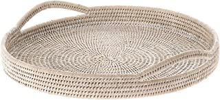 KOUBOO La Jolla Rattan Round Serving Tray, White Wash
