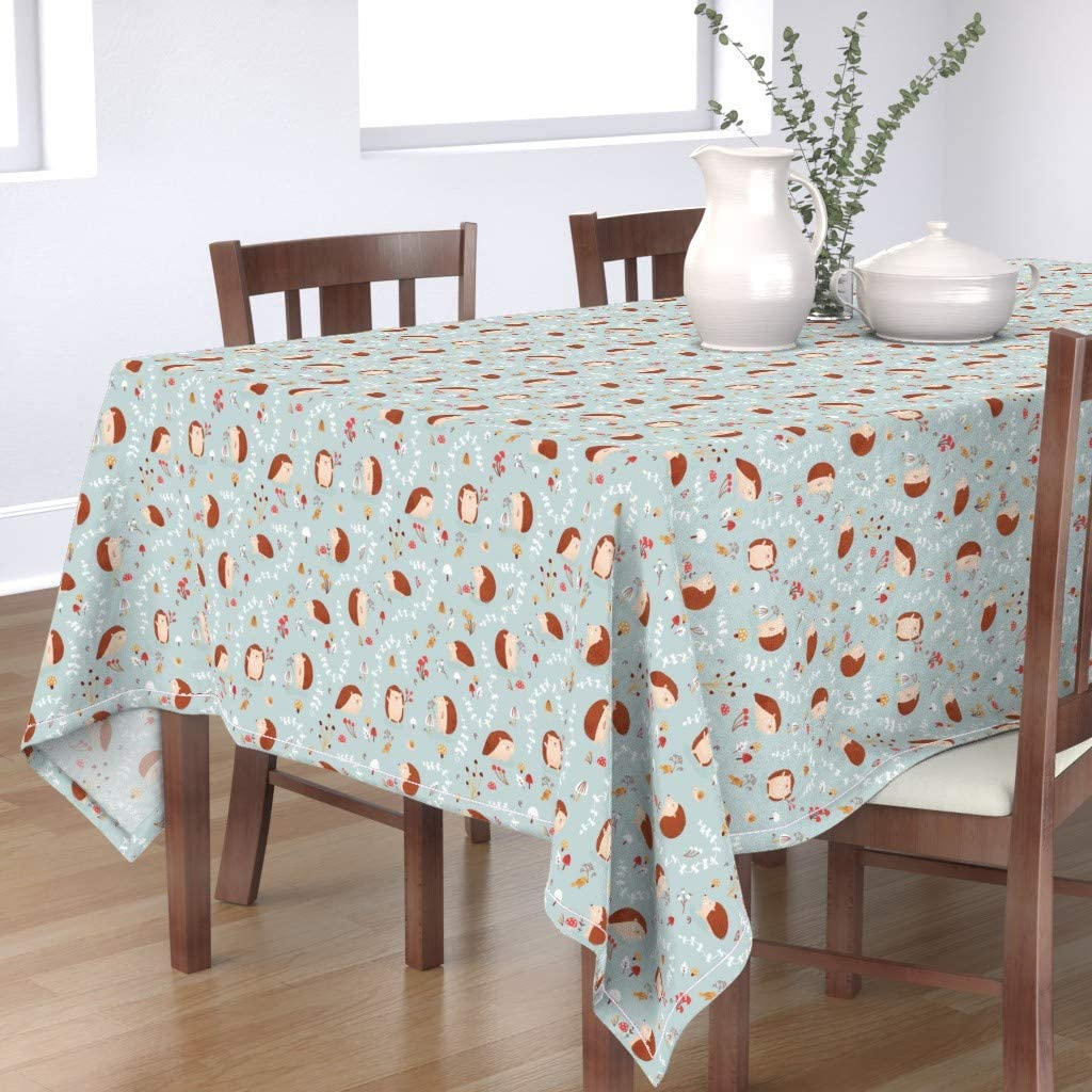 Roostery Spoonflower Tablecloth San Jose Mall Blue San Antonio Mall Hedgeho Woodland Cute Baby