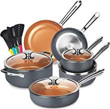 KUTIME Cookware Set 14pcs Non-Sick Pots and Pans Set Ceramic Coating Frying Pan Grill Pan Sauce Pan Stockpot with Lids, Ga...