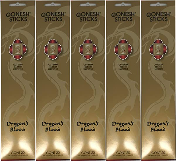 Gonesh Custom Blend Incense Sticks Dragon S Blood 5 Packs 100 Total