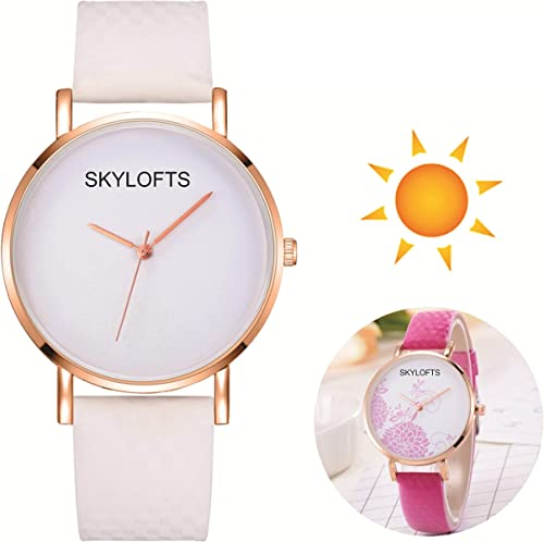 Analogue White Dial Solar Pink Floral Pattern Developing Girl Watch Watches For Girls