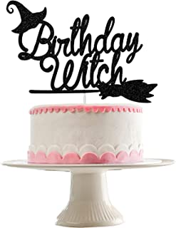 Birthday Witch Cake Topper Black Glitter- Halloween Birthday Party Decorations Girl,Witch Cake Topper,Hocus Pocus Cake Top...