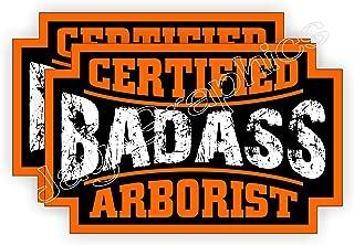 (2) Badass ARBORIST Hard Hat Stickers | Bad Ass Motorcycle Helmet Decals | Laborer Foreman Bossman Worker Construction Tree Cutter Chainsaw Chain Saw Labels Badges