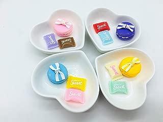Elufly White Porcelain Mini Heart Dish 3'' Set of 2-8 (4)