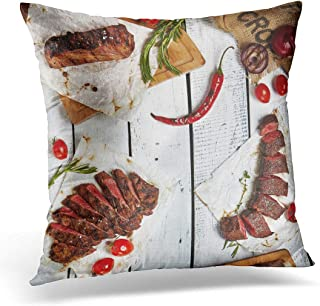 Emvency Throw Pillow Covers Case White Above Gourmet Grill Restaurant Steak Various Grilled Beef on Wooden Black Angus Dinner Top View Decorative Pillowcase Cushion Cover 16 x 16 Inches