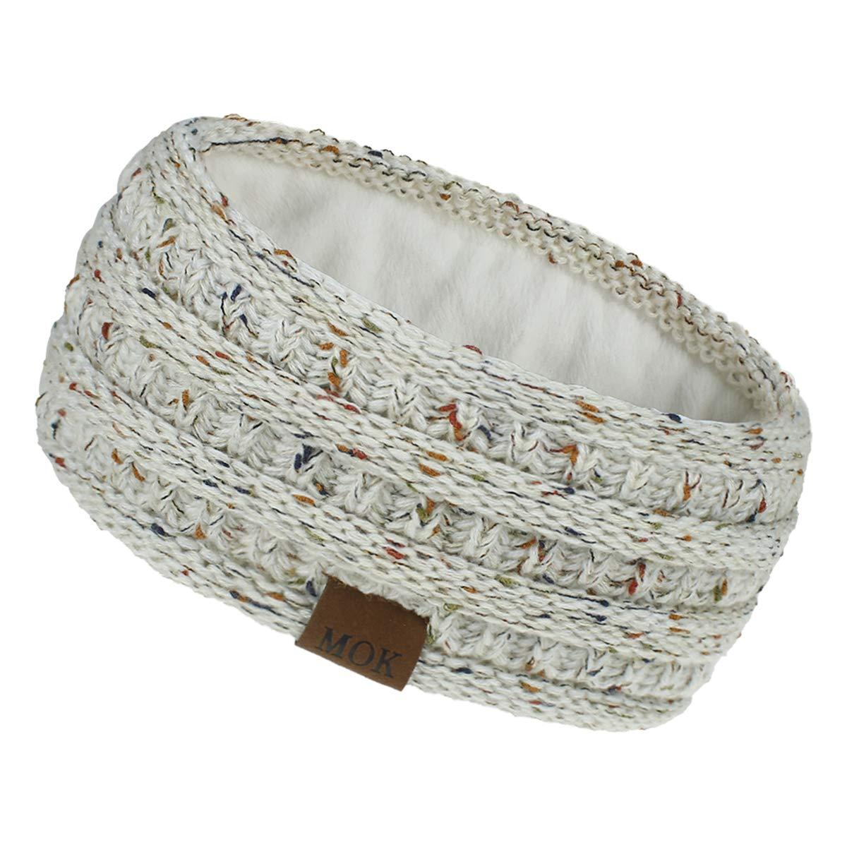 puseky Women Knit Headband Warm Fleece Lined Winter Ear Warmer Headband Headwrap