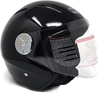 Motorcycle Scooter PILOT Open Face Helmet DOT - Shiny Black (XXL)