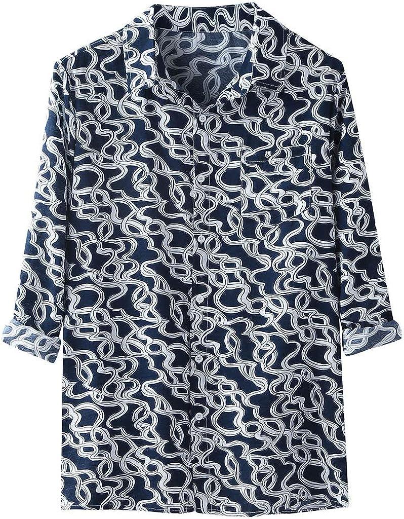 XXBR Boho Shirts for Mens, Button Down Ethnic Vintage Lapel Hawaiian Shirt Long Sleeve Loose Casual Vacation Beach Tops