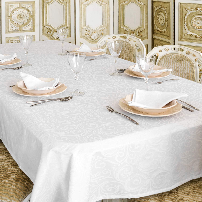 """Nappe de luxe blanche - Traitement anti taches - Grande tailles - Ref.  Lyon, blanc, 6 x 6"""" (6 x 6cm)"""