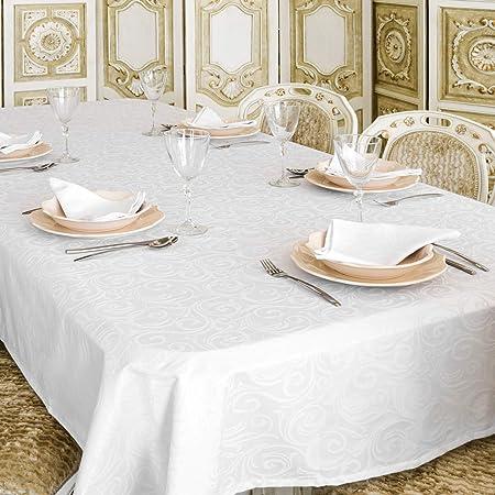 """Nappe de luxe blanche - Traitement anti taches - Grande tailles - Ref. Lyon, blanc, 59 x 137"""" (150 x 350cm)"""