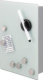 bremermann Armoire à clés avec façade en verre, inscriptible, 8 crochets, 6 aimants, 1 marqueur, 1 porte-marqueur, corps e...