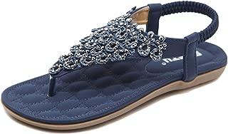 Women Ankle Strap Flat Sandals - Bohemian Flip Flop Platform Sandals Strappy T Strap Thong Beach Shoes