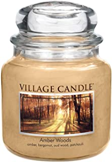 Village Candle Amber Woods Glass Jar, Beige, 9.7 x 9.5 x 10.9 cm