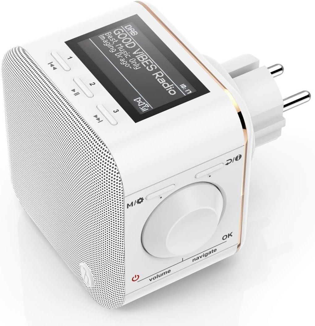 Hama Steckdosenradio DAB+/DAB Digitalradio klein Plug in Radio mit DAB/DAB  Plus/FM/Bluetooth/AUX, Radio Wecker, beleuchtetes Display, geeignet für ...