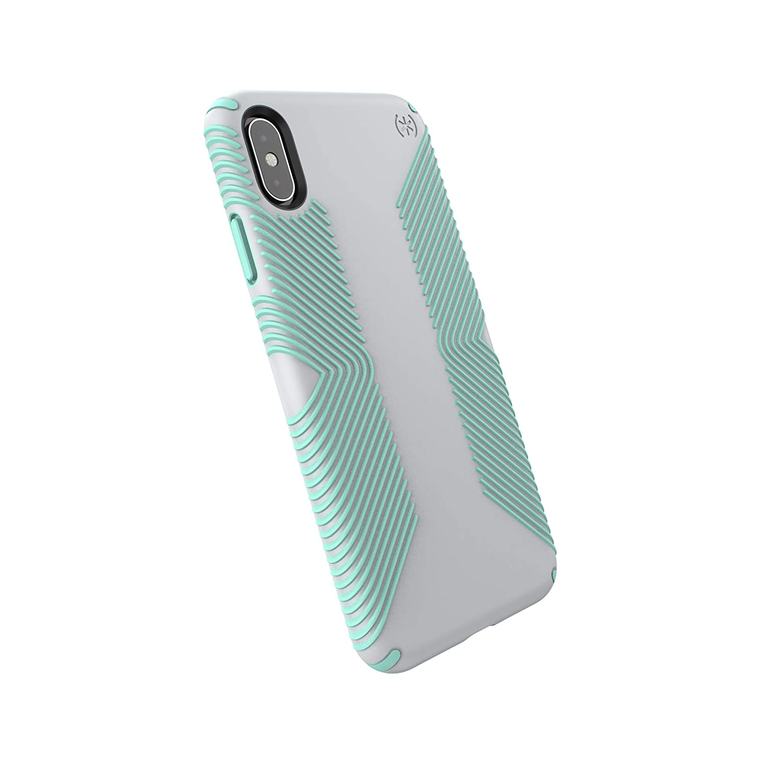 Speck Products Compatible Phone Case for Apple iPhone Xs Max, Presidio Grip Case, Dolphin Grey/Aloe Green