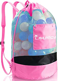 Large Beach Toys Mesh Bag Sand Toys Storage Tote Bag Drawstring Backpack Adjustable Shoulder Strap for Adults Child Kid Picnic Packs with Side Pocket, Water Sand Away, Toys Not Included (Pink)