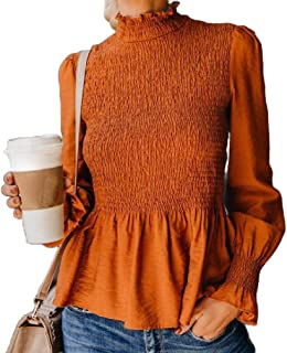 neveraway Womens Casual Long Sleeves Chiffon Pleated Tunic Top Blouse