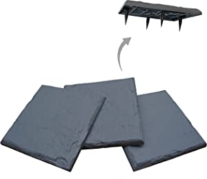 """Gardien 15.5"""" Slate Grey Polyresin Stepping Stones – Now with Larger/Wider 4.25"""" Ground Stakes - Decorative Pavers for Outdoor Walkway, Garden Pathway, Lawn, Yard, or Home Walking Path (4)"""