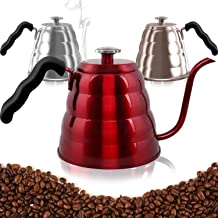 Pour Over Coffee Kettle with Thermometer-Flow Gooseneck Spout-Brew Barista-Standard Hand Drip Coffee and Tea-Suitable for all Stovetops Including Induction BPA Free Handle,Halloween(40floz, red)