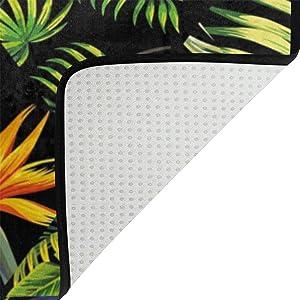 Use7 Alfombra de pájaros de Flamenco con diseño de Hojas Tropicales, Antideslizante, Alfombrilla de Suelo para salón, Dormitorio, 100 x 150 cm