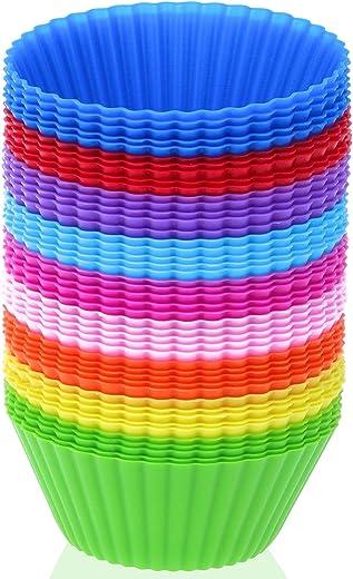 بطانات الكب كيك من السيليكون، 45 قطعة من سيليزو، أكواب خبز سيليكون قابلة لإعادة الاستخدام قوالب كعك غير لاصقة، مافن، كاب كيك والحلويات، ألوان زاهية متنوعة