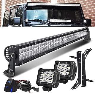 QUAKEWORLD DOT Approved 52 Inch 300W Offroad LED Light Bar + 4 Inch 18W Driving Fog Lights W/Rocker Switch Wiring Harness Fit 2007-2017 Jeep Wrangler JK JKU