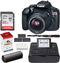 $529 » Canon EOS Rebel T6 Digital SLR Camera + EF-S 18-55mm Lens + 32GB Memory Card + Canon SELPHY CP1300 Compact Photo Printer (Black) + Canon KP-108IN Color Ink and Paper Set + Replacement Printer Battery