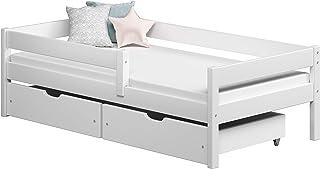 Children's Beds Home Lits Simples pour Enfants Enfants Enfant Junior avec Tiroirs Pas De Matelas Inclus (140x70, Blanc)