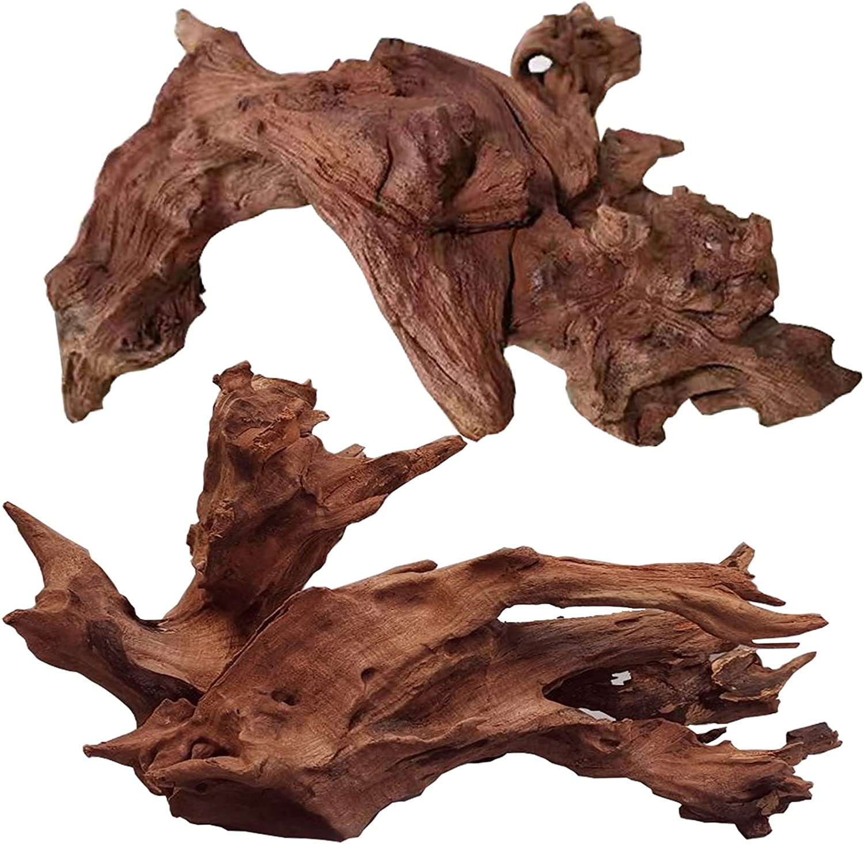 Hiwzitar Natural Driftwood for Aquarium Decor, 9-14 Inch Large Size Branch for Fish Tank Reptile Decorations 2 PCS……