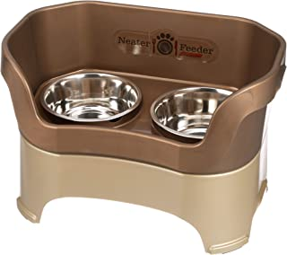 Neater Feeder Deluxe Large Dog (Bronze) - The Mess Proof Elevated Bowls No Slip Non Tip Double Diner Stainless Steel Food ...