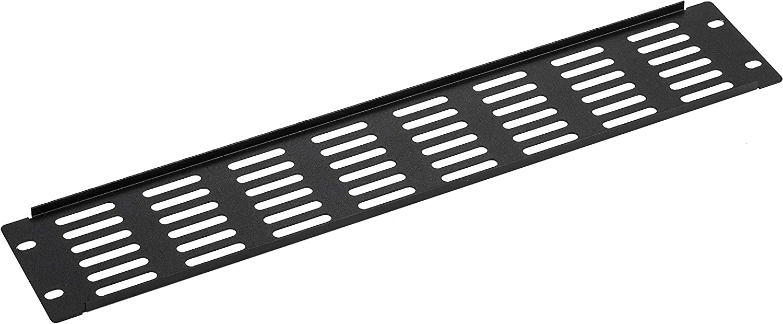 KENUCO Blank Rack Mount Panel Spacer with Venting for 19-Inch Server Network Rack Enclosure - Black (C-2U)