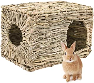 IQQI Foldable Woven Grass Pet Rabbit Hamster Guinea Pig Cage Nests House Chew Toy,Pet Supply Non Toxic