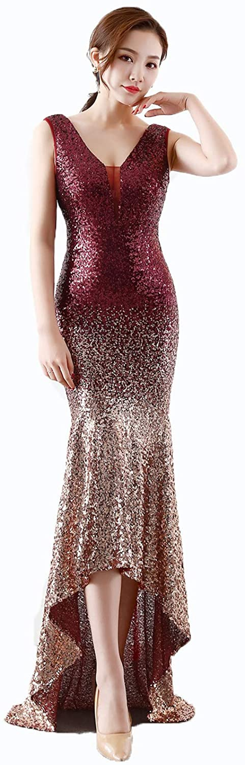 Sexy Women's VNeck Sequins Evening Dresses Elegant Slim Sleeveless Irregular Mermaid Dresses for Host Ladies Cocktail Party Prom Wear