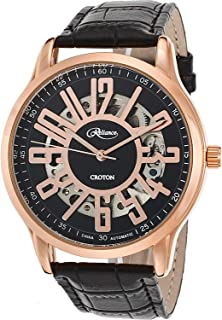Reliance Automatic Watch Rose Gold Partial Skeleton Black Leather Strap RE306072RGBK