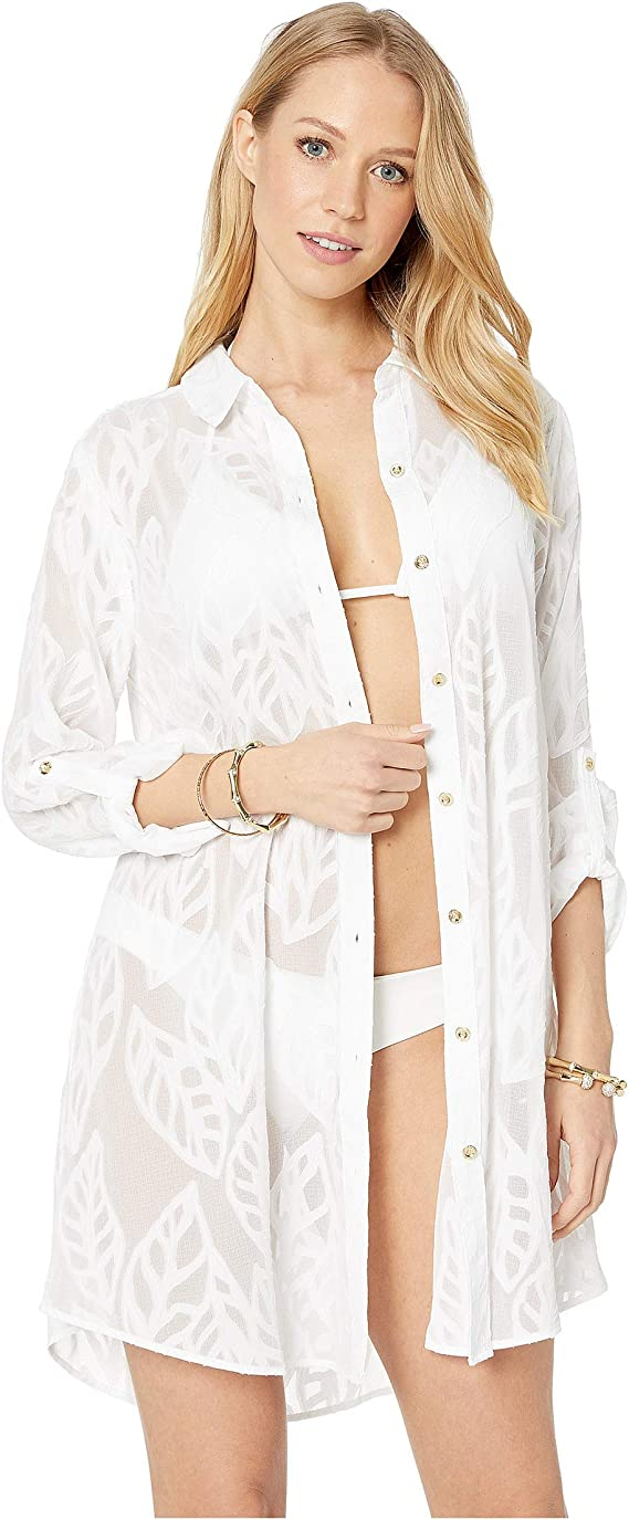 Lilly Pulitzer Natalie Cover-up Shirt Dress in ResortWhite Poly Crepe Swirl Clip
