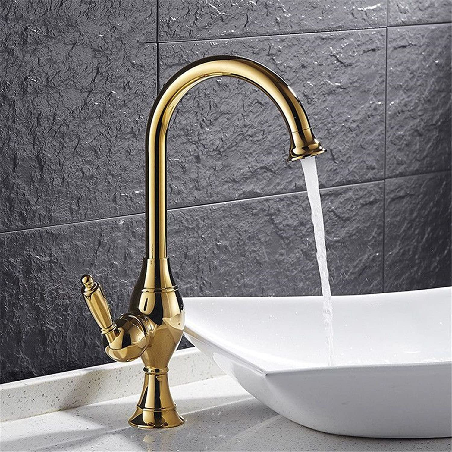 Commercial Kitchen Faucet Stainless Handle Pull Out Kitchen Sink Faucet?Copper Kitchen Faucet hot and Cold Mixing Valve European Bathroom 360° redating Basin Faucet Bathroom Single Hole gold Faucet