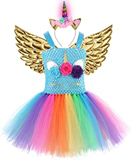 Baby Girls Rainbow Unicorn Dress with Wings LED Headband for Birthday Party Flower Princess Tutu