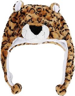 RETYLY 子供の動物帽子 スカーフ付き フェイクファー 子供の冬用の帽子 クールなギフト - ヒョウ柄(短い)