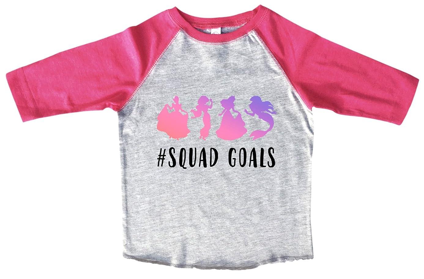 "Girls Disney Princess Raglan 3/4 Sleeves ""#Squad Goals"" Squad Toddler & Youth Baseball Tee"