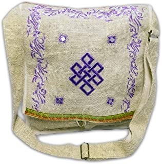 Embroidered Endless Knot Natural Hemp Cross Body Shoulder Messenger Bag, 12 x 13 Inches