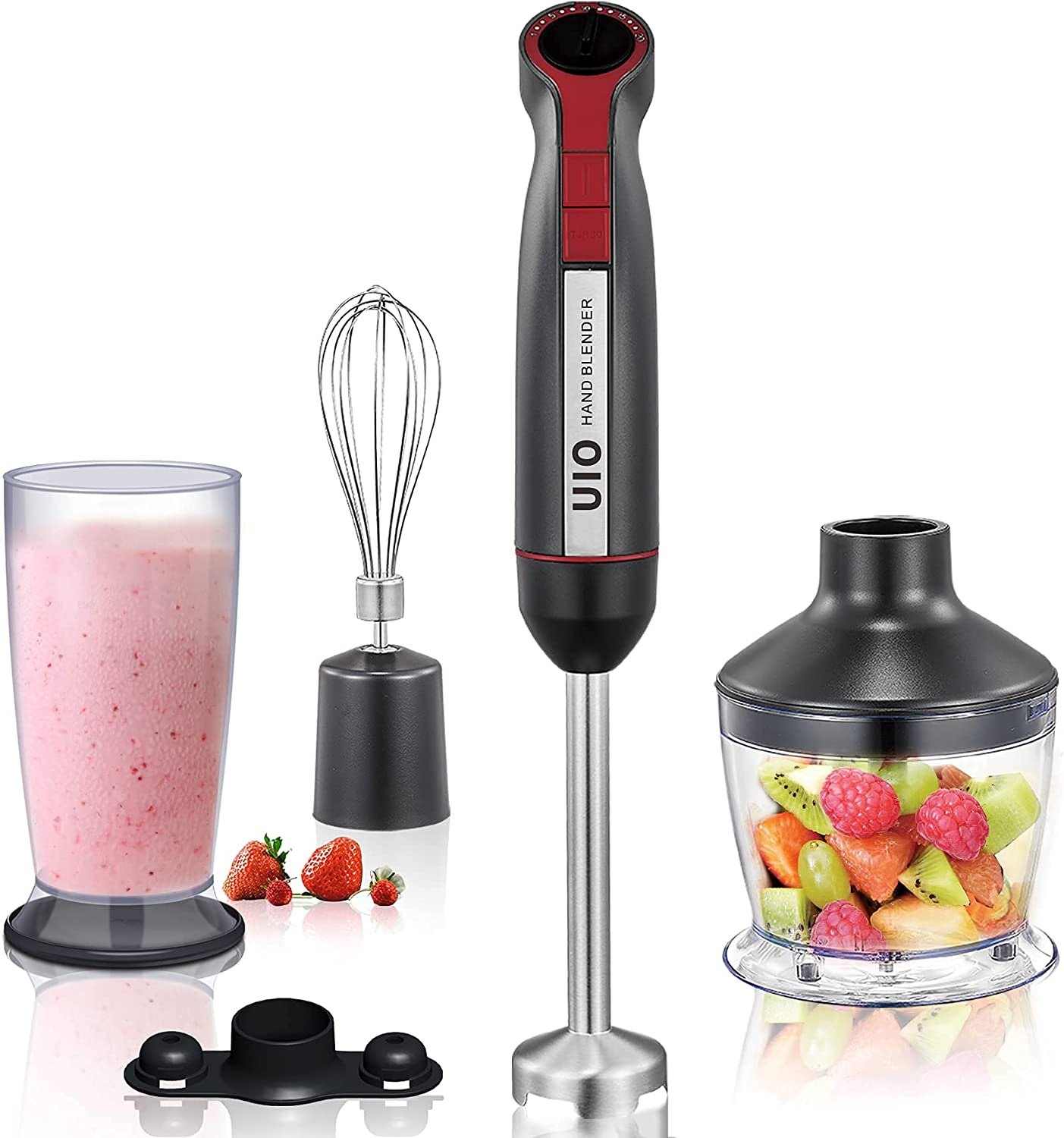 Hand Blender UIO 400W 4 in 1 Immersion Blender Handheld, 20 Speed and Turbo Mode Stick Blender, 304 Stainless Steel Handheld Blender for Baby Food/Soup/Juice, with Whisk, 800ml Cup, 500ml Chopper Bowl
