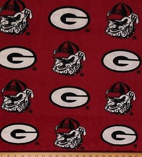Fleece University of Georgia Bulldogs Red Print College Fleece Fabric by The Yard - Red