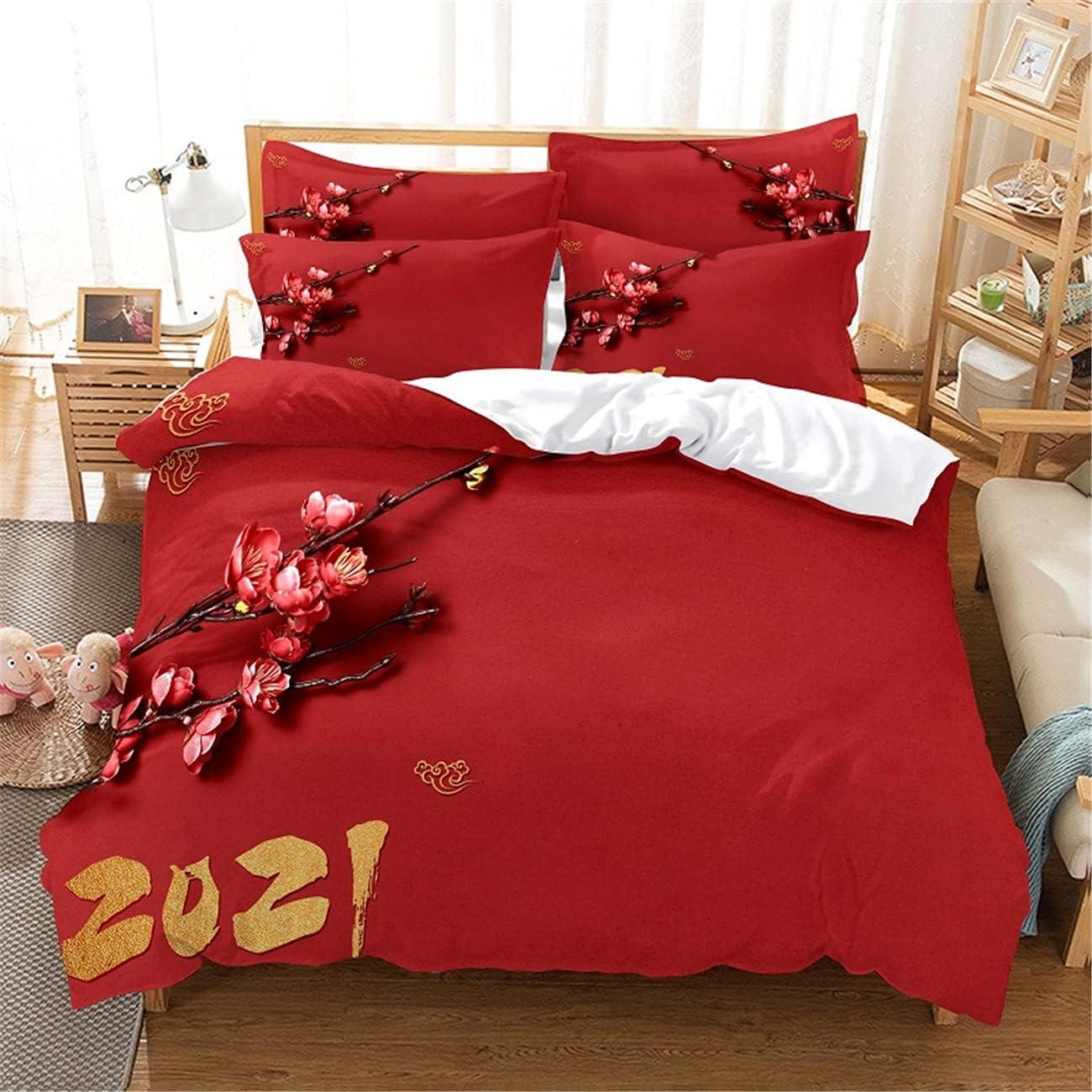 MANXI Soft New popularity Fiber Three Latest item Piece Quilt Cover Blossom Digi Red Plum