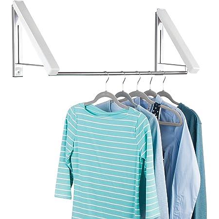 mDesign portant pour vêtements mural pour buanderie, salle de bain ou chambre – tringle à vêtements pratique en métal pour les vêtements provenant du nettoyage – barre de penderie pour cintres – blanc