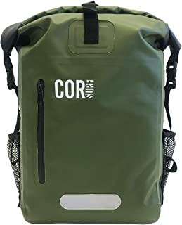 COR 25L Waterproof Dry Bag Backpack with Padded Laptop Sleeve (Green, 25L)