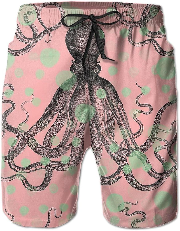 Beach Pants King Octopus Men's Workout Gym Short Shorts Pockets Sweatpants Waist Tension Design