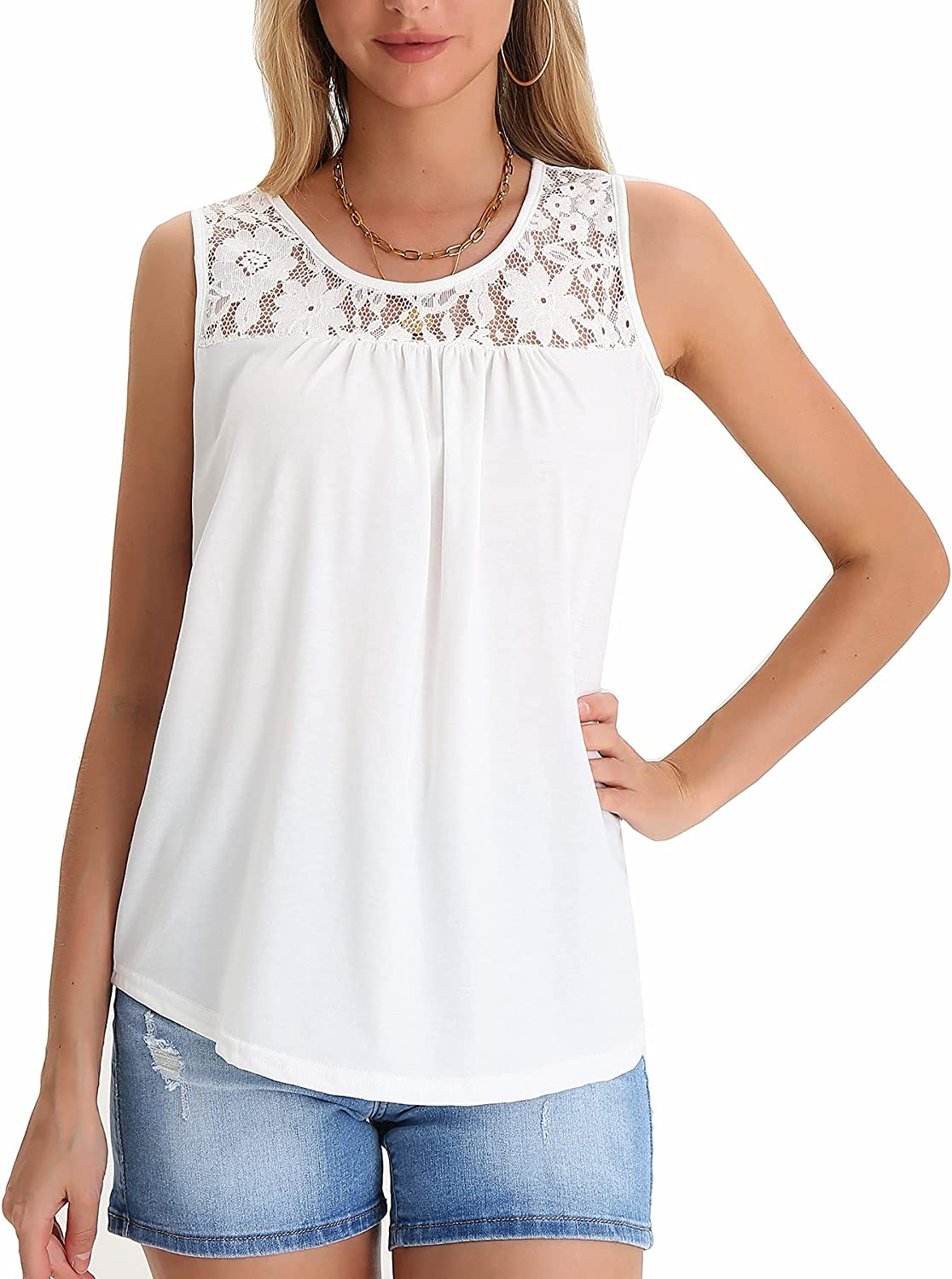 Women's Vest Summer Sleeveless Round Neck Lace Stitching Loose Knit Top