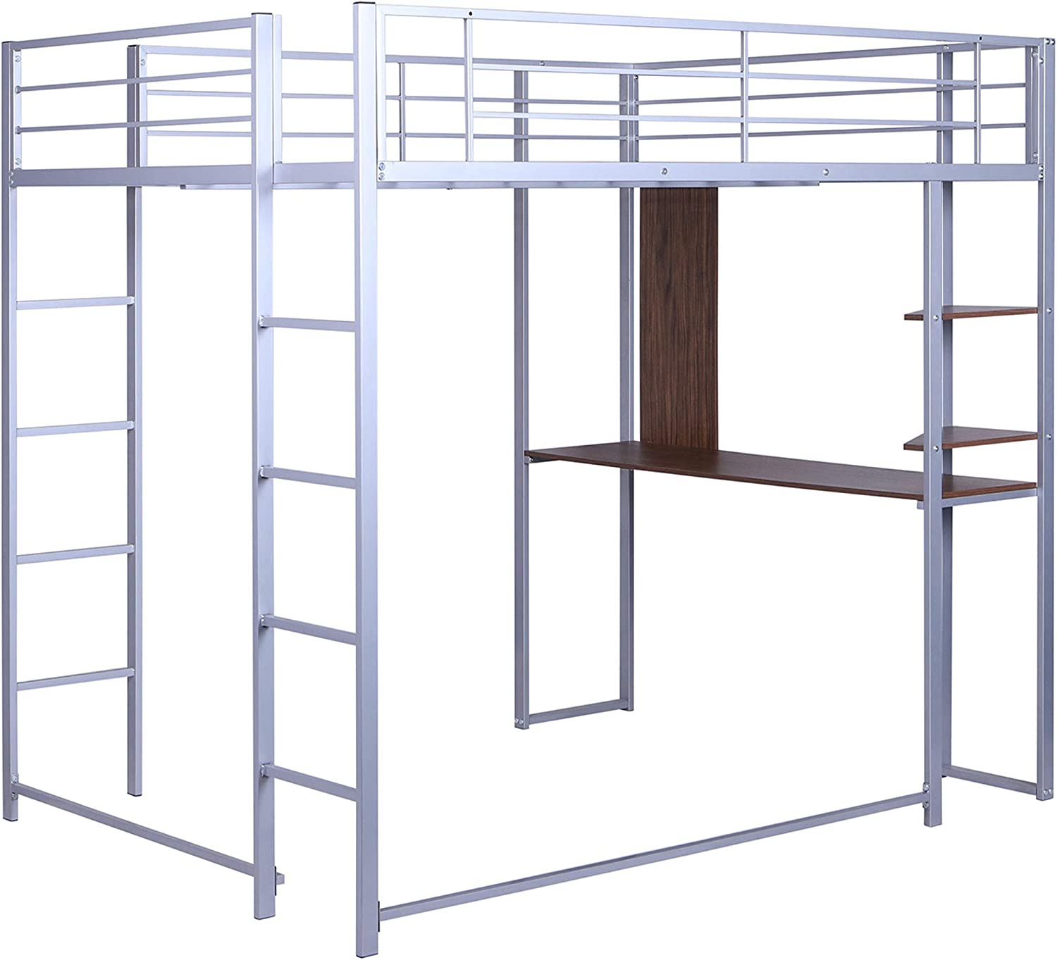 Buy Full Loft Beds Metal Bed Frame Loft Bed With Desk And Bookcase Full Size Loft Bed For Dorm Boys Girls Teens Kids Silver Online In Indonesia B08slts3z8