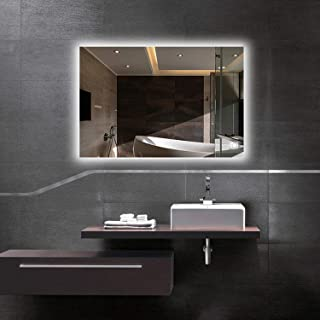 Hans & Alice Backlit Mirror,LED Wall Mounted Bathroom Vanity Mirror–Dimmable, Anti Fog, Touch Screen (36''x28'')
